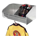 2 Bay Helmet Shelf with Garment Rack
