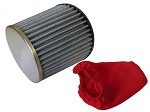 Tapered Chrome Top Fabric Air Filter, 2-7/16