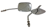 Chrome Die Cast Motorcycle Mirrors-Long Stem