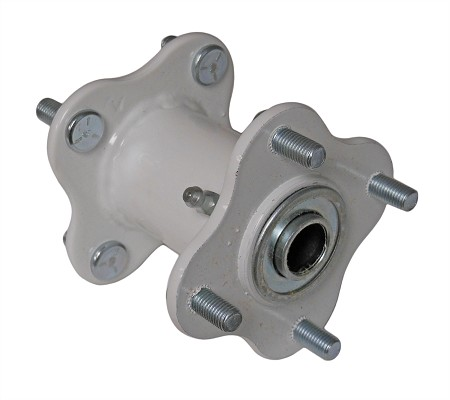 "Double Flange Wheel Hub with (4) 5/16"" Bolts on a 2-13/16"" Circle (Includes 5/8"" Bearing)"