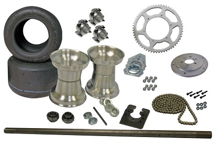 Drift Trike Axle Kit with Tires, Rims (#40 Chain)