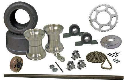 Drift Trike Axle Kit with Tires, Rims, Clutch, Pillow Block Bearings (#40 Chain)