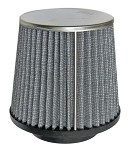 "Tapered Chrome Top Fabric Air Filter, 2-7/16"" (Inlet) x 4 Tall"