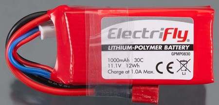 ElectriFly LiPo Battery 3S 11.1V 1000mAH by Great Plains #0830
