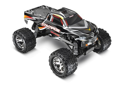 Stampede 1/10 Monster Truck Black, RTR W/iD Battery & 4 Amp Peak DC Charger - Brushed