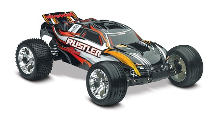 Rustler 1/10 Stadium Truck Black, RTR W/iD Battery & 4 Amp Peak DC Charger - Brushed