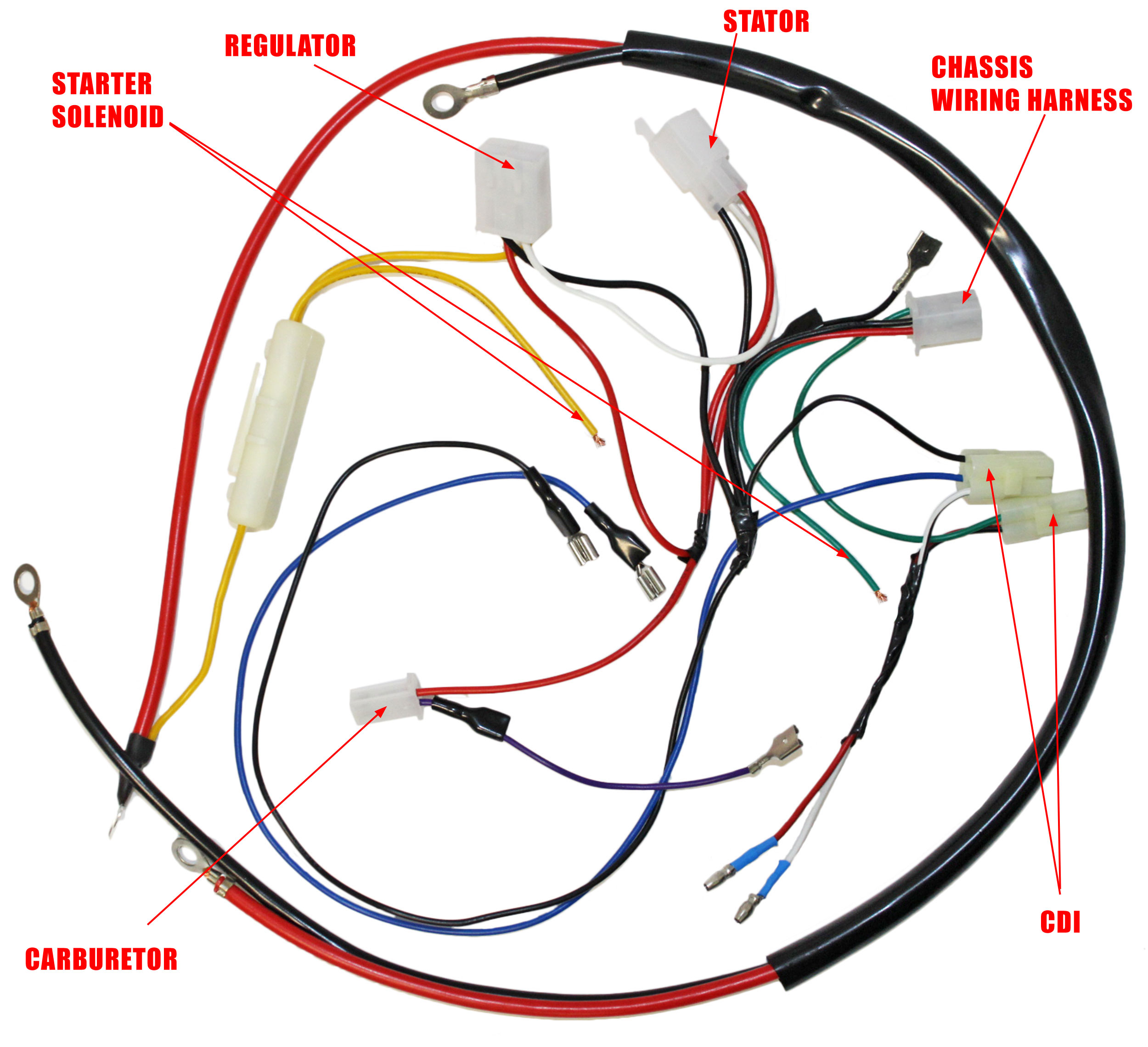 engine wiring harness for gy6 150cc engine 05711a bmi. Black Bedroom Furniture Sets. Home Design Ideas