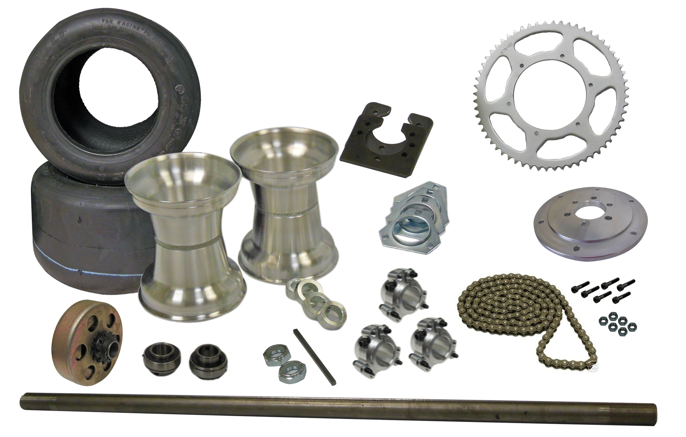 Drift Trike Axle Kit with Tires, Rims, & Clutch (#40 Chain) | 333020-Clutch  | BMI Karts And Parts