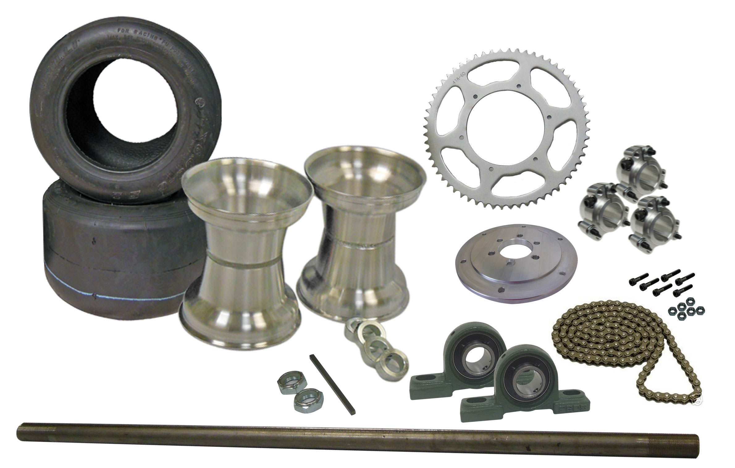 Drift Trike Axle Kit with Tires, Rims, Pillow Block Bearings (#40 Chain) |  333020_PB | BMI Karts And Parts
