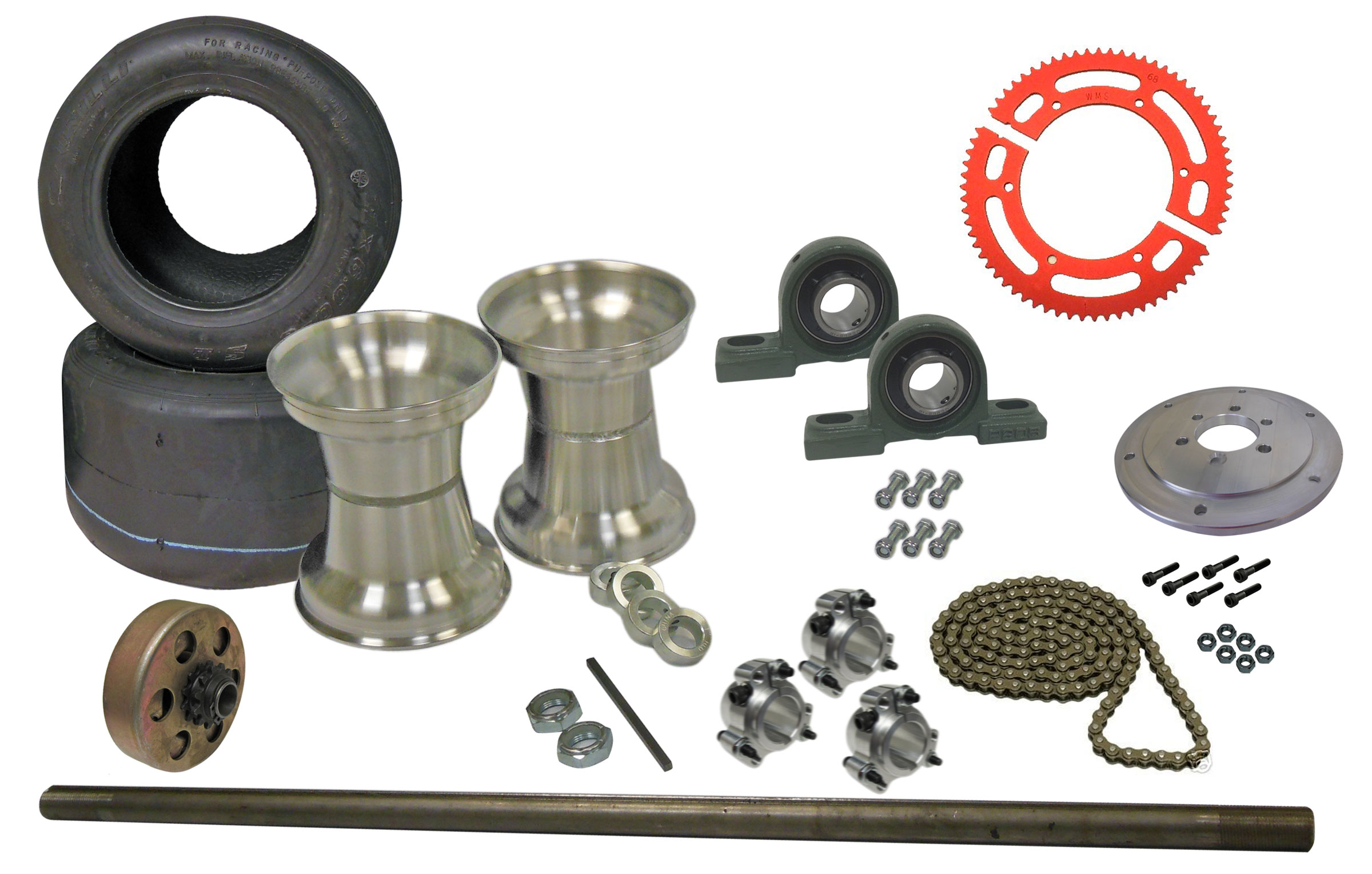 Drift Trike Axle Kit with Tires, Rims, Clutch, Pillow Block Bearings (#35  Chain) | 333035_PB_clutch | BMI Karts And Parts