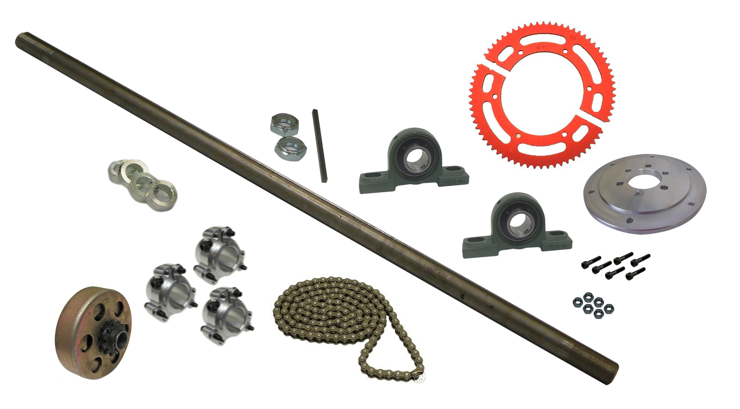 Drift Trike Axle Kit with Clutch, Pillow Block Bearings (#35 Chain) |  333038_PB_clutch | BMI Karts And Parts