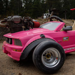 Barbie Mustang Conversion to Go-Kart That Can Reach 90 MPH