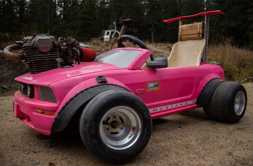 Pink Barbie Mustang Go Kart with BMI Kart Rims