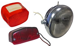 Vintage Motorcycle Head and Tail Lights