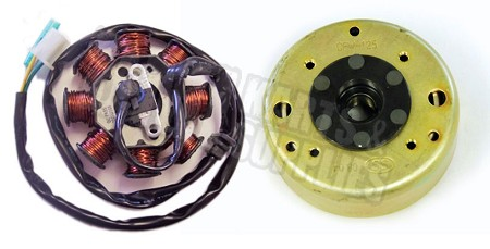 8 Pole Stator Comp with Flywheel for GY6, 150cc Engine