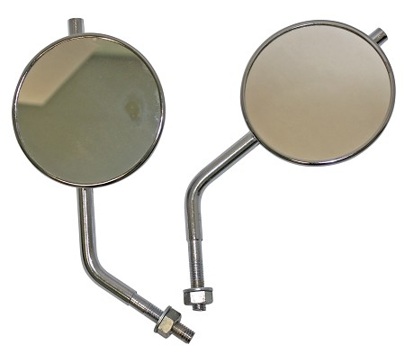 Superior Round Rear View Motorcycle Mirrors - 4-1/2""