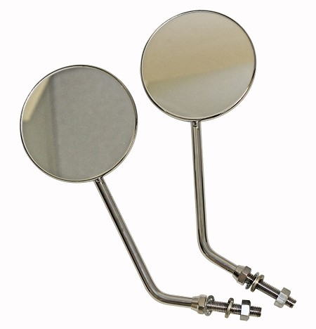 Superior Round Rear View Motorcycle Mirrors - 3-1/2""