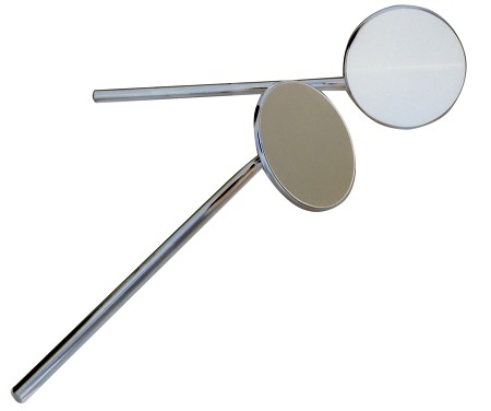 "Superior Round Rear View Motorcycle Mirrors - 10"" Rod"