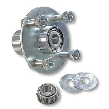 "4 x4 Plated Steel Wheel Hub with Taper Roller Bearing - 5/8"" ID"