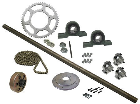 Drift Trike Axle Kit with Clutch, Pillow Block Bearings (#40 Chain)