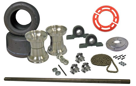 Drift Trike Axle Kit with Tires, Rims, Pillow Block Bearings (#35 Chain)