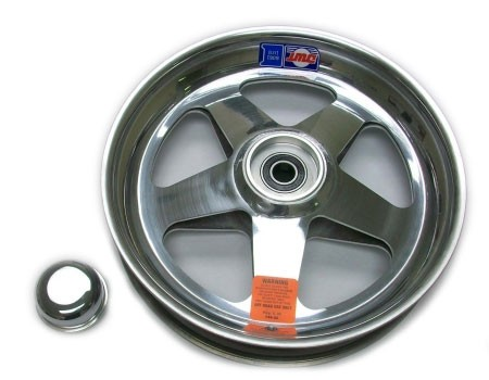 "10"" Douglas Polished Aluminum Front Wheel - Cut Out"