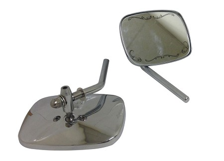 Chrome Die Cast Motorcycle Mirrors-Short Stem