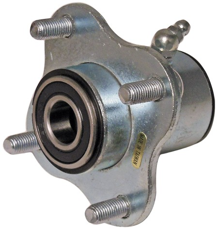 "Galvanized Wheel Hub with (4) 5/16"" Bolts on a 2-13/16"" Circle (Includes 5/8"" Bearing)"