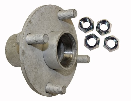 4 x4 Steel Wheel Hub for Taper Roller Bearing - With Lug Nuts