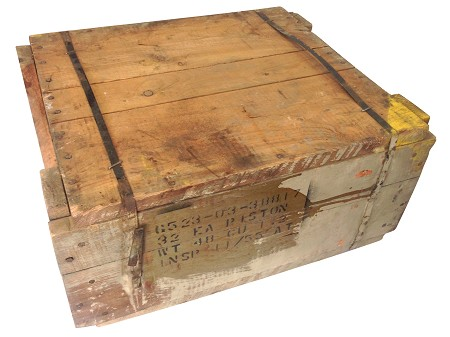 WWII Era Crate of Genuine Harley-Davidson Piston Sets with Rings