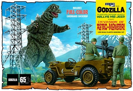 MPC Godzilla Army Jeep 1:25 Scale Model Kit