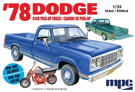 MPC 1978 Dodge D100 Custom Pickup with Mini Bike 1:25 Scale Model Kit