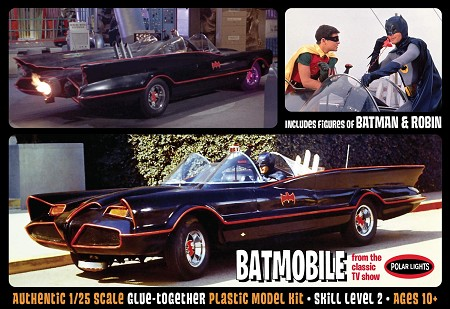 Polar Lights 1966 Batmobile with Batman and Robin figures 1:25 Scale Model Kit