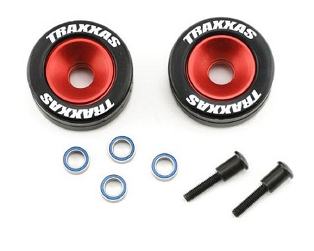 Anodized Aluminum Wheels for Traxxas (w/ Bearings, Rubber Tires, & 2 Wheelie Axles)