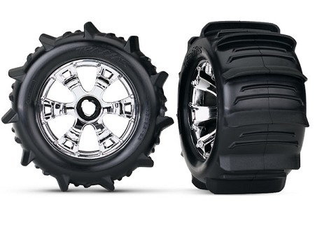 Paddle Tires & Geode Chrome Wheels Assembly for Traxxas