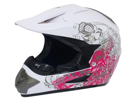 Off Road Youth Helmet (White/Butterfly)