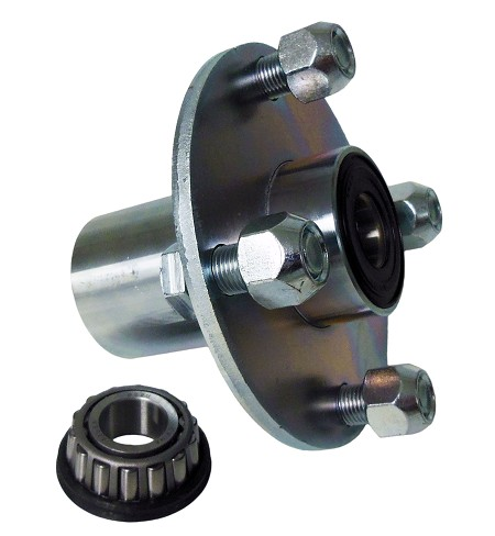 "4 x4 Plated Steel Wheel Hub with Sealed Taper Roller Bearing - 3/4"" ID"