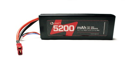 5200mAh 7.4V 2S 30C LiPo Battery with Hardwired T-Plug Connector