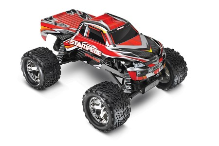Stampede 1/10 Monster Truck Red, RTR W/iD Battery & 4 Amp Peak DC Charger - Brushed