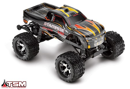Stampede VXL 1/10 Scale Monster Truck Black RTR, w/TSM, Battery and Charger - Brushless