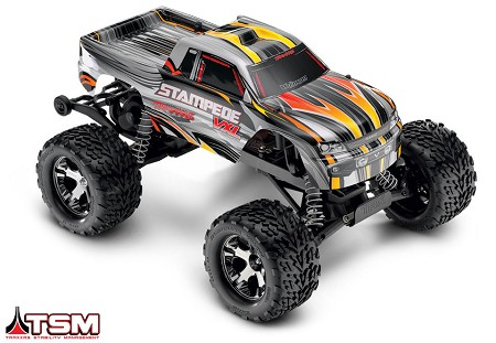 Stampede VXL 1/10 Scale Monster Truck Silver RTR, w/TSM, Battery and Charger - Brushless