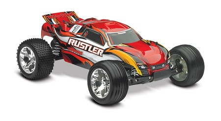 Rustler 1/10 Stadium Truck Red, RTR W/iD Battery & 4 Amp Peak DC Charger - Brushed